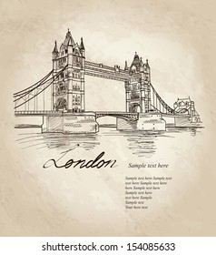 Vector Tower Bridge, London, England, UK, Europe. Hand drawing old fashion illustration background with copy space.