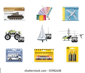 Vector toy icons. Teenager toys