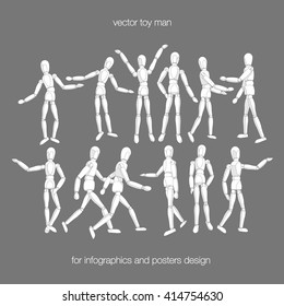 Vector toy man set. Constructor toy dummy man in actions. Wooden toy dummy man in different poses isolated. Vector toy people. Vector dummy man.