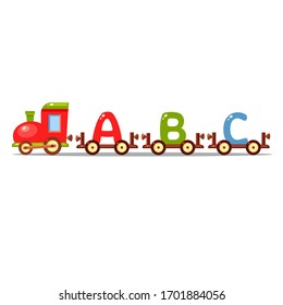 Vector toy train with letters A, B and Cof different colors. Cute alphabet. Cartoon colorful English letters