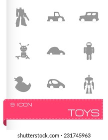 Vector toys icons set on white background