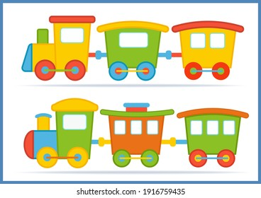 Vector toys train. Isolated illustration on white background. Train for birthday décor.