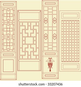 Vector of Traditional Asian Window and Door Pattern