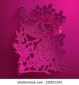 Vector Traditional Chinese Bird Paper Cutting. Translation of Stamps: Good Fortune
