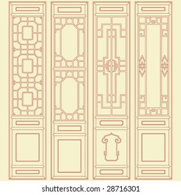 Vector of Traditional Chinese Classic Window, door, screen Frame Pattern