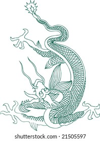 Vector of Traditional Chinese Dragon Pattern