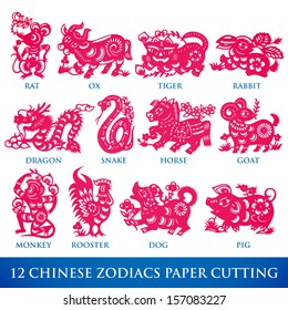 Vector Traditional Chinese Paper Cutting of 12 Zodiacs