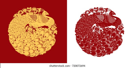 Vector of traditional Chinese Paper-cut Peacock