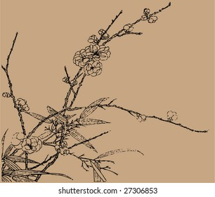 Vector of Traditional Chinese Stroke painting from Ming Dynasty