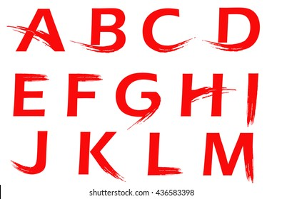 Vector traditional chinese strokes alphabet. Splash brushed lettering.