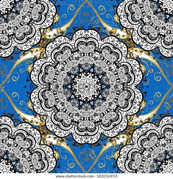 Vector traditional classic golden on blue background. Oriental ornament in the style of baroque.