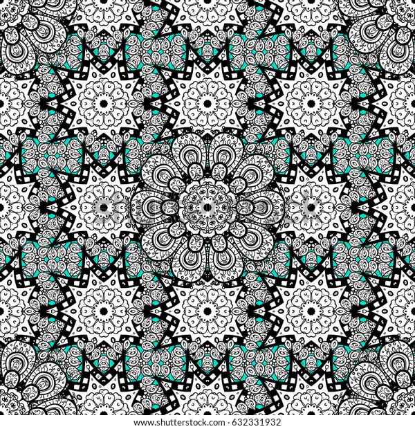 Vector traditional classic white seamless pattern on blue background. Seamless oriental ornament in the style of baroque.