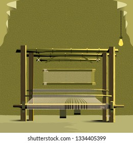 Vector Traditional Cloth Weaving Handloom Machine