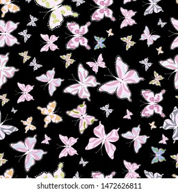 Vector traditional folk nice decor on white, black and neutral background for clothing design. Cute trend butterflies.