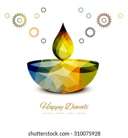 vector traditional Hindu festival Diwali lamp colorful design