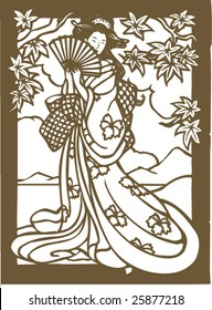 Vector of traditional Japanese Geisha pattern