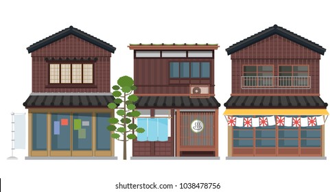 vector traditional japanese house collection