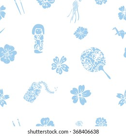 Vector traditional Japanese symbols seamless pattern