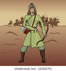 Vector traditional nomads' warrior archer of Central Asian