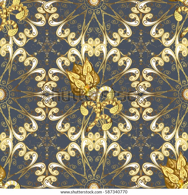 Vector traditional orient ornament. Golden pattern on gray background with golden elements. Classic golden pattern.