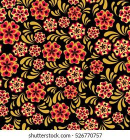 Vector traditional russian khokhloma seamless pattern style