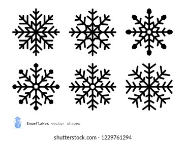 Vector traditional snowflakes set