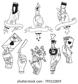 Vector Traditional Tattoo Art Design. Hands holds the different objects
