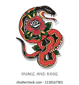 Vector Traditional Tattoo Design Snake and Rose