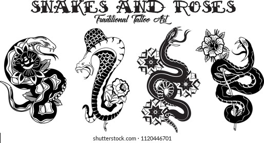 Vector Traditional Tattoo Design Snakes and Flowers Line Art