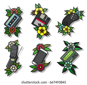 Vector Traditional Tattoo Designs Electronic Objects Set