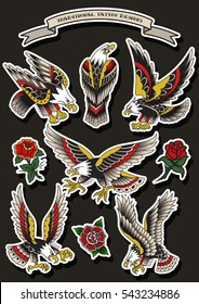 Vector Traditional Tattoo Eagles Set American Tattooing Culture Designs Flash