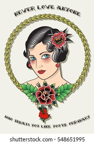 Vector Traditional Tattoo Lady Vintage Tattoo Design Woman