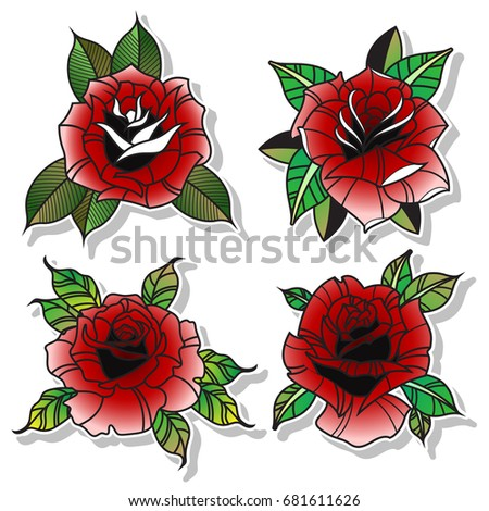 Vector Traditional Tattoo Red Rose Set Stock Vector Royalty Free