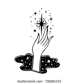 Vector traditional tattoo style. Hand is holding star. Vector illustration  isolated. Tattoo design, astrology, occult, alchemy, mystic, magic symbol for your use.