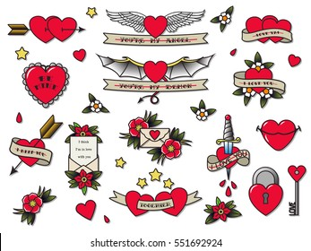 Vector Traditional Tattoo Valentine's Day Flash Set Tattooing Flowers, Hearts, Wings, Ribbons, Stars, Letters Love Confession Original Tattoo Vintage Stickers Designs Collection