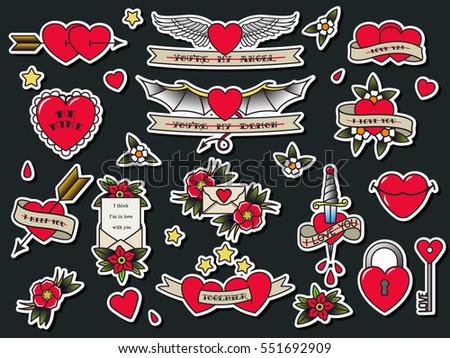 Vector Traditional Tattoo Valentines Day Flash Stock Vector Royalty
