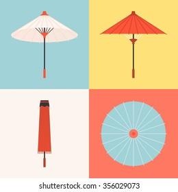 Vector traditional umbrella, flat design