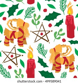 Vector traditional Yule pattern with wood stars, candles, yule goats and traditional plants, mistletoe, holly and spruce