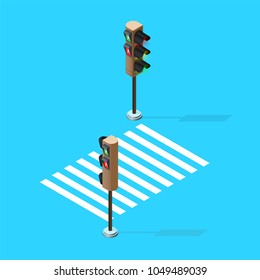 Vector Traffic Lights,isometric view, isometric traffic sign