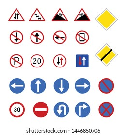 Vector traffic symbols for mobile and computer isolated white background