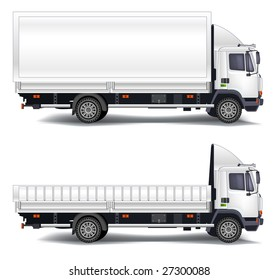 Vector trailer, transports machine, isolated object on white background, illustration