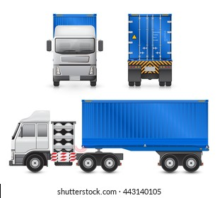 Vector of trailer truck and cargo container for shipping and transportation isolated on white background.
