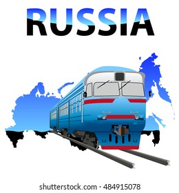 vector train goes by rail in the background with the inscription Russia