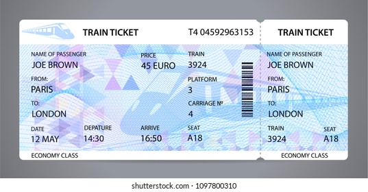 Vector Train ticket, Rail pass design, traveler check (template / layout) with train silhouette on background. Travel by Railway Transport. Enjoy your vacation. Isolated vector