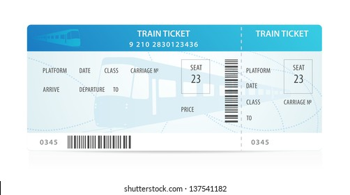Vector Train ticket, traveler check (template / layout) with train silhouette on background. Travel by Railway Transport. Enjoy your vacation. Isolated vector on white