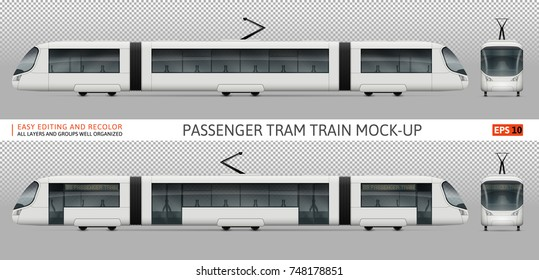 Vector tram train template for advertising, corporate identity. White tramway illustration. Vehicle branding mockup. Layers and groups well organized for easy editing and recolor.