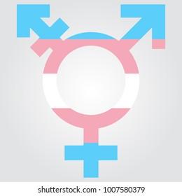 Vector transgender symbol colored in transgender colors
