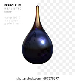 Vector translucent petroleum drop. Realistic 3d droplet of a crude oil. Black gold liquid with a reflection of oil pump and twin pipeline. White and checkered background shows a slight transparency.