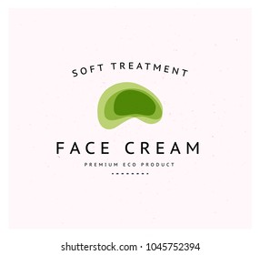 Vector  transparent beauty, eco cosmetics and healthy treatment emblem, stone symbols in green colors isolated on white background. Perfect for cosmetic, skin products and health care fashion insignia