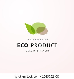 Vector transparent beauty, eco cosmetics, healthy treatment emblem, stone & leaf symbols in green colors isolated on white background. Good for cosmetic, skin products and health care fashion insignia